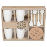 Cup Large w/Coasters Bamboo SET/4