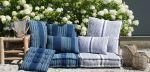 Cushion Cotton Indigo Blue Ivory Lines 60x60cm