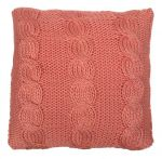 Cushion knitted cables pattern Coral pink 50x50cm