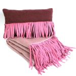 Cushion Mohair Pink with Suede Fringes 50x30cm