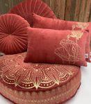 Floorcushion round velvet marsala print gold Lotus ø70hg12cm