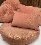 Floorcushion round velvet old pink print gold Lotus ø70hg12cm