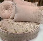 Floorcushion round velvet pastel pink print golden Lotus ø70hg12cm