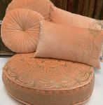 Floorcushion round velvet peach print gold Lotus ø70hg12cm
