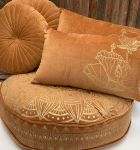 Floorcushion velvet Curry with gold Print Lotus ø 70hg12cm