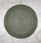 Rug braided burlap forestgreen 200cm round