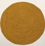 Rug braided burlap round 200cm yellow ocher