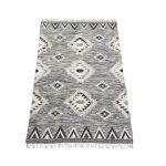 Rug wool woven graphic design black white 160x230cm