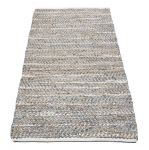 Rug woven jute and recycled leather grey 80x140cm