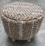 Stool jute and recycled grey leather wooden legs hg40ø40cm