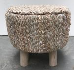 Stool jute/leather cream/copper/gold 40x40cm