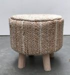 Stool naturel jute with 4 wooden legs 40x40cm