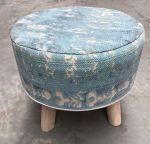 Stool wood linen turquoise ø 50 cm hg 40 cm