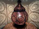Tablelamp oriental filigrain metal black copper hg 31,5 ø19,6cm