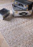 Vloerkleed geweven jute en recycled wit katoen 190x290cm