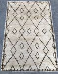 vloerkleed puur wol ecru met bruin geometrisch patroon 160x230cm