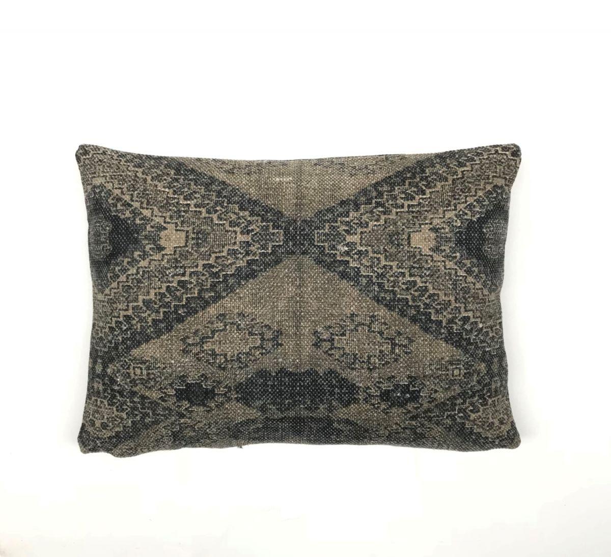 Kussen katoen blokprint geometrisch design grijs bruin for Bruin grijs interieur